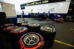 Pirelli tyres in front of Carlin garage