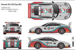 Carro de Nelsinho e Pedro Piquet para a prova da Porsche GT3 Cup em Interlagos