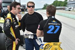 Simon Pagenaud, Brad Keselowski, Team Penske and Marco Andretti, Andretti Autosport Honda