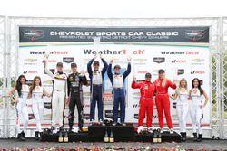 GTD podium: winners Jeroen Bleekemolen, Ben Keating, second place Patrick Lindsey, Jörg Bergmeister, third place Christina Nielsen, Alessandro Balzan