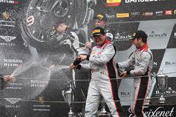Podium: race winners #33 Belgian Audi Club Team WRT Audi R8 LMS: Enzo Ide, Robin Frijns, second plac