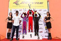 Podium: Race winner Ruhaan Alva, Birel ART, second place Shahan Ali, Meco, third place Arjun Nair, Meco