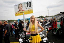Grid girl of Timo Scheider, Audi Sport Team Phoenix, Audi RS 5 DTM