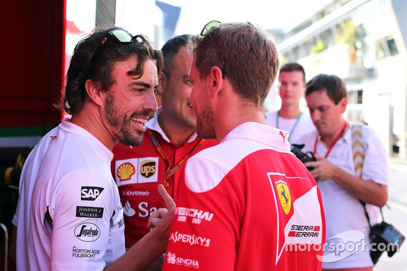 Fernando Alonso, McLaren Honda and Sebastian Vettel, Scuderia Ferrari