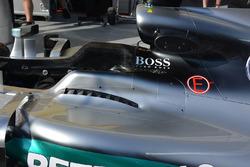 Mercedes AMG F1 W07 Hybrid detalle de las celosías de cabina