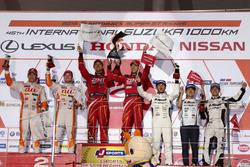 Podium GT500: race winners #38 Team Zent Cerumo Lexus RC F: Yuji Tachikawa, Hiroaki Ishiura, second place #36 Team Tom's Lexus RC F: Daisuke Ito, James Rossiter, third place #46 Mola Nissan GT-R: Satoshi Motoyama, Mitsunori Takaboshi