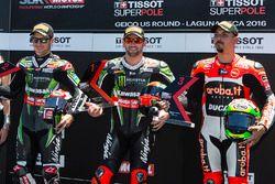 Polesitter Tom Sykes, Kawasaki Racing; 2. Jonathan Rea, Kawasaki Racing; 3. Davide Giugliano, Ducati
