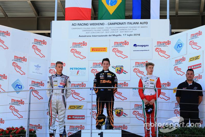E teve Brasil no alto do pódio. Giuliano Raucci venceu pela primeira vez na Fórmula 4. O brasileiro triunfou na corrida 2 da rodada tripla em Mugello.