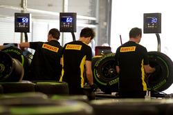 Des techniciens Pirelli au travail