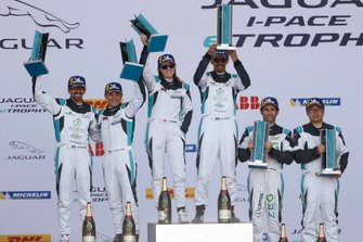 The PRO class podium,Katherine Legge, Rahal Letterman Lanigan Racing, Bryan Sellers, Rahal Letterman Lanigan Racing, Sérgio Jimenez, Jaguar Brazil Racing, stands with the PRO AM class, Bandar Alesayi, Saudi Racing, Ahmed Bin Khanen, Saudi Racing, Lin Qi, Team China