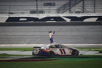Denny Hamlin, Joe Gibbs Racing, Toyota Camry FedEx Express celebrates his second win of the Daytona 500