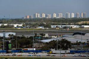 Denny Hamlin, Joe Gibbs Racing, Toyota Camry FedEx Express and Matt DiBenedetto, Leavine Family Racing, Toyota Camry Procore