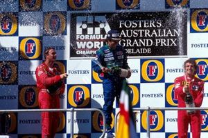 Nelson Piquet, Benetton; Nigel Mansell, Ferrari; Alan Prost, Ferrari