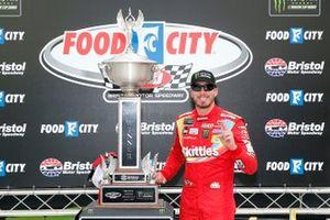 Kyle Busch, Joe Gibbs Racing, Toyota Camry Skittles celebrates in victory lane