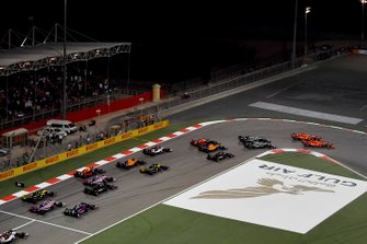 Start: Sebatian Vettel, Ferrari, Charles Leclerc, Ferrari lead