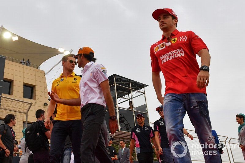 Nico Hulkenberg, Renault F1 Team, Carlos Sainz Jr., McLaren, and Charles Leclerc, Ferrari