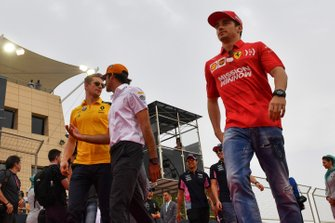 Nico Hulkenberg, Renault F1 Team, Carlos Sainz Jr., McLaren, and Charles Leclerc, Ferrari, in the drivers parade