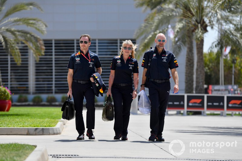 Christian Horner, Team Principal, Red Bull Racing, Jayne Poole, HR Director, Red Bull Racing (F1) & Red Bull Technology, and Adrian Newey, Chief Technical Officer, Red Bull Racing