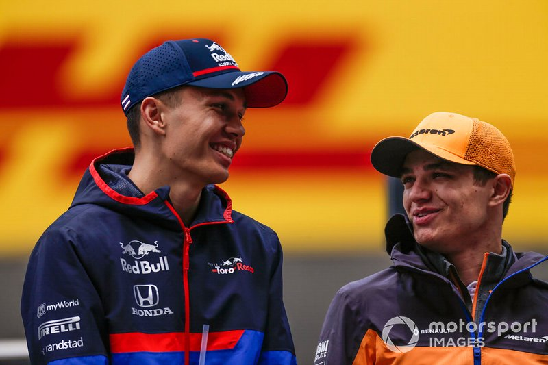 Alexander Albon, Toro Rosso, and Lando Norris, McLaren, in the drivers parade