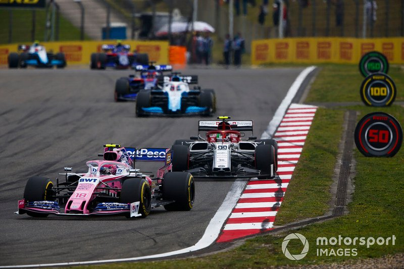 Lance Stroll, Racing Point RP19, devance Antonio Giovinazzi, Alfa Romeo Racing C38, George Russell, Williams Racing FW42, et Daniil Kvyat, Toro Rosso STR14