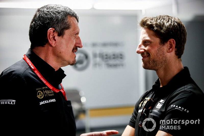 Guenther Steiner, Team Principal, Haas F1 and Romain Grosjean, Haas F1