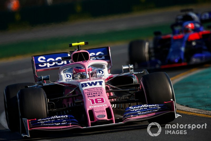 Lance Stroll, Racing Point RP19, leads Daniil Kvyat, Toro Rosso STR14