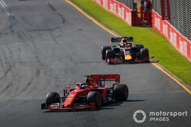 Sebastian Vettel, Ferrari SF90, Max Verstappen, Red Bull Racing RB15