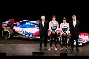 Andrew Green, Racing Point F1 Team Technical Director, Lance Stroll, Racing Point F1 Team, Sergio Perez, Racing Point F1 Team and Otmar Szafnauer, Racing Point F1 Team Principal with the Racing Point F1 Team RP19