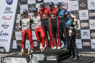 Race winners Sébastien Ogier, Julien Ingrassia, Citroën World Rally Team, second place Ott Tänak, Martin Järveoja, Toyota Racing, third place Elfyn Evans, Scott Martin, M-Sport Ford