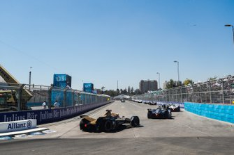 Jean-Eric Vergne, DS TECHEETAH, DS E-Tense FE19, follows a train of cars.