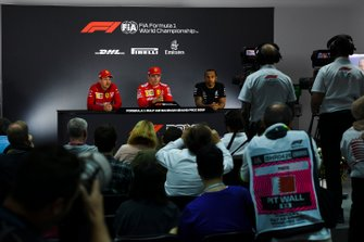 Sebastian Vettel, Ferrari, Charles Leclerc, Ferrari, and Lewis Hamilton, Mercedes AMG F1, in the post Qualifying Press Conference