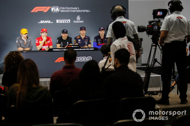 Lando Norris, McLaren, Charles Leclerc, Ferrari, Valtteri Bottas, Mercedes AMG F1, Pierre Gasly, Red Bull Racing and Daniil Kvyat, Toro Rosso in Press Conference