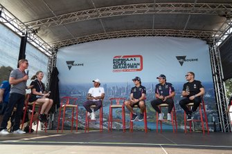 Lewis Hamilton, Mercedes AMG F1, Lance Stroll, Racing Point, Sergio Perez, Racing Point, and Valtteri Bottas, Mercedes AMG F1, on stage