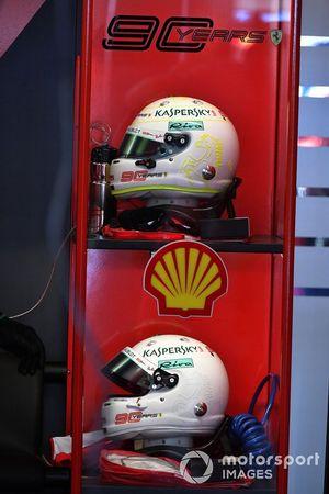 The helmets of Sebastian Vettel, Ferrari