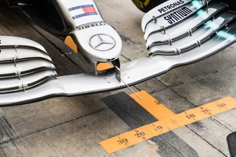 Technical close up of the front of Lewis Hamilton's Mercedes AMG F1 W10