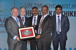 Jean Todt, President, FIA, Gautam Singhania , CMD Raymond Group, Prithiviraj, President of FMSCI, GR. Karthikeyan, FMSCI Lifetime Achievement Awardee and Narain Karthikeyan