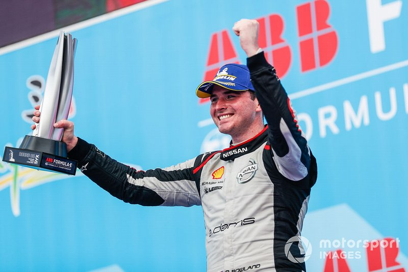 Oliver Rowland, Nissan e.Dams, celebrates 2nd position on the podium