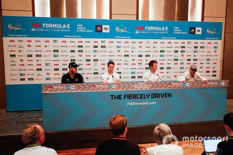 Andre Lotterer, DS TECHEETAH, Stoffel Vandoorne, HWA Racelab, Oliver Turvey, NIO Formula E Team, Edoardo Mortara, Venturi Formula E, in conferenza stampa