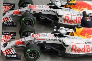 The cars of Max Verstappen, Red Bull Racing RB16B, 2nd position, and Sergio Perez, Red Bull Racing RB16B, 3rd position, in Parc Ferme