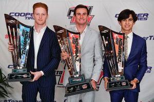Indy Pro 2000 champion Christian Rasmussen, Jay Howard Driver Development, Indy Lights champion Kyle Kirkwood, Andretti Autosport and USF2000 Champion Kiko Porto, DEForce Racing