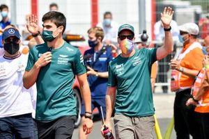 Lance Stroll, Aston Martin and Sebastian Vettel, Aston Martin on the drivers parade