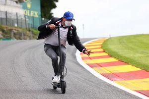 Valtteri Bottas, Mercedes, rides a scooter at Eau Rouge