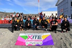 Emma Gilmour, Veloce Racing, Cristina Gutierrez, X44, Sebastien Loeb, X44, Alejandro Agag, CEO, Extreme E, Stephane Sarrazin, Veloce Racing, and Oliver Bennett, Hispano Suiza Xite Energy Team, take part in the official switching on of solar panels for the