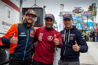 Toby Price, Nasser Al-Attiyah and Mathieu Baumel