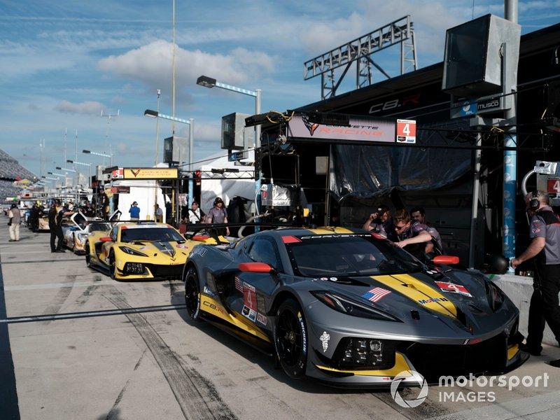 #4 Corvette Racing Corvette C8.R, GTLM: Oliver Gavin, Tommy Milner, Marcel Fassler, #3 Corvette Racing Corvette C8.R, GTLM: Antonio Garcia, Jordan Taylor, Nicky Catsburg