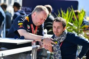 Nicolas Todt talks to a Red Bull Racing employee