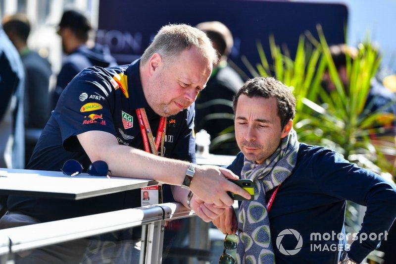 Nicolas Todt talks with Andy Palmer, Aston Martin CEO