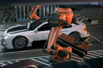 Industrial robots will effortlessly remove and replace the car's underbody battery pack during the mandatory pit-stops