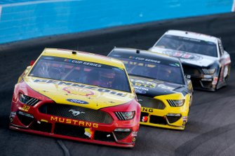 Joey Logano, Team Penske, Ford Mustang Shell Pennzoil Brad Keselowski, Team Penske, Ford Mustang Alliance Parts Kevin Harvick, Stewart-Haas Racing, Ford Mustang Jimmy John's Freaky Fast Rewards