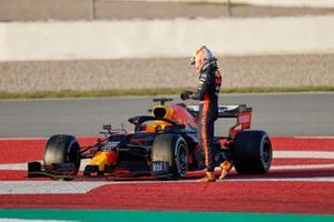 Max Verstappen, Red Bull Racing, stops on track